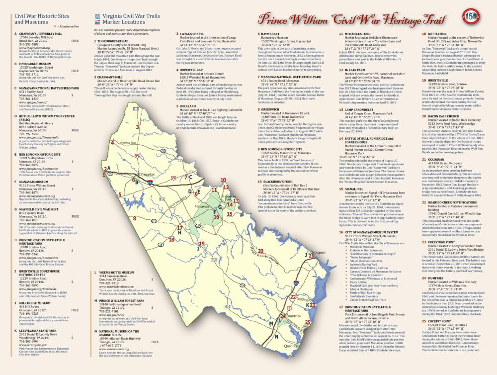 Map of Prince William's Civil War Heritage Trail
