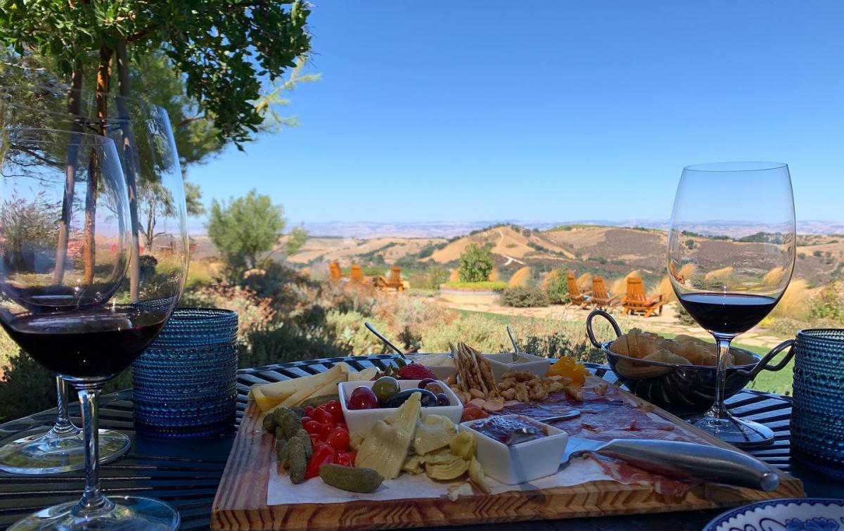 Wine Glasses And Cheese Plate At DAOU Vineyards in SLO CAL