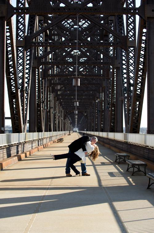 Couple kissing on the Big Four Bridge