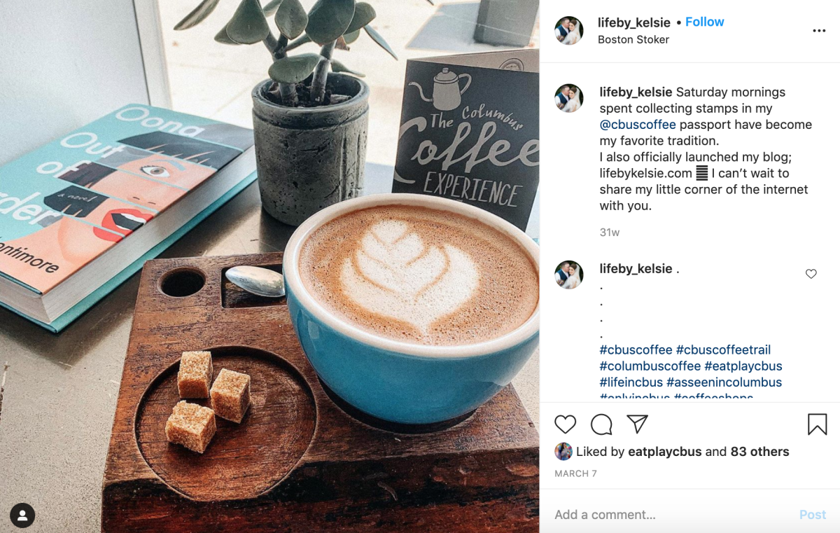 Instagram post about coffee trail from Live By Kelsie