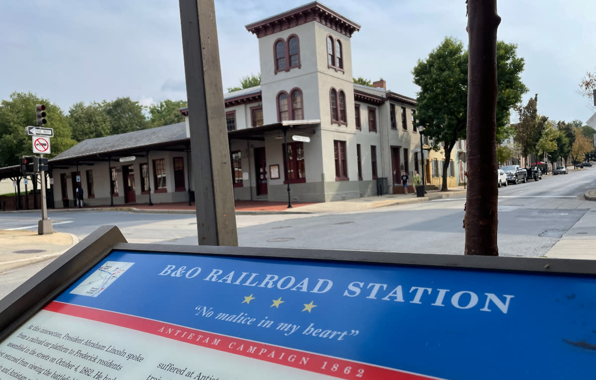 Civil War Trails sign of the B&O Railroad Station