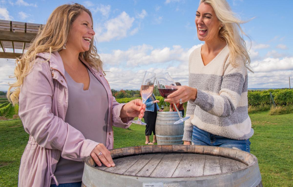 Drinking Wine at Brys Estate Vineyard