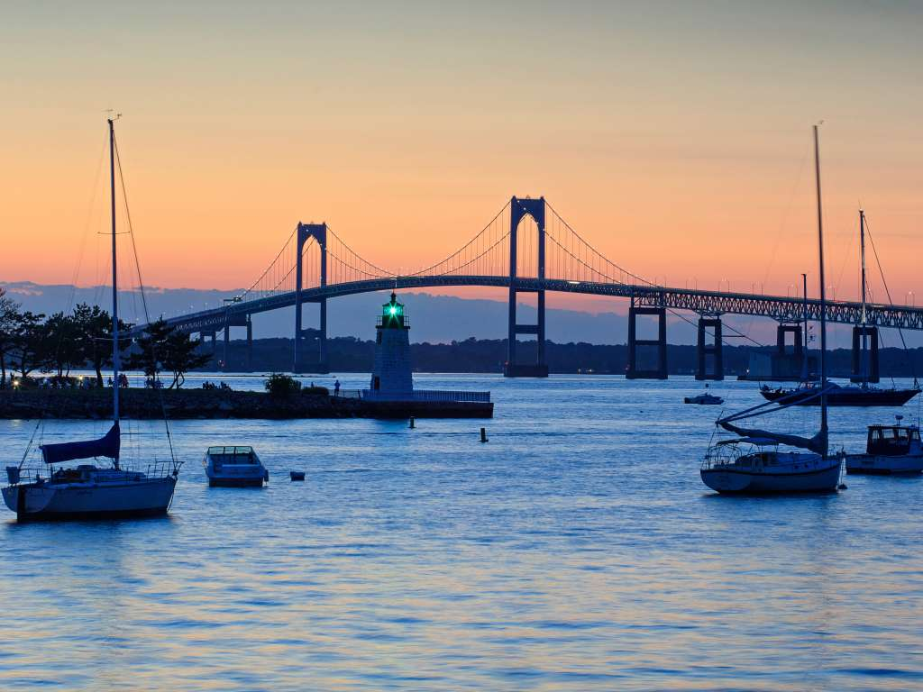 Goat Island Lighthouse And Bridge -Newport -Newport