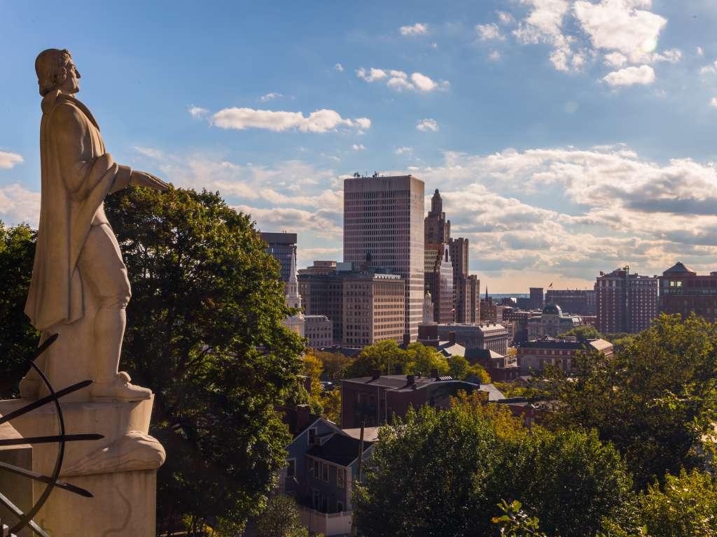 Statue Overlooking Prospect Park in Rhode Island