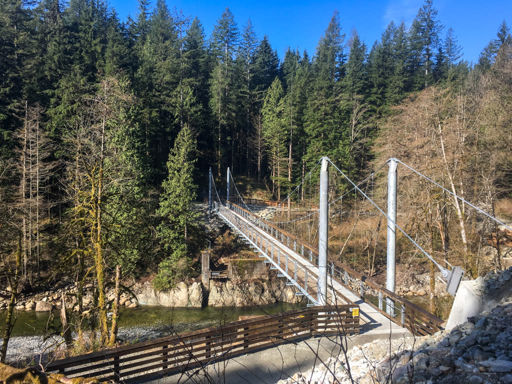 The new suspension bridge over the Seymour River