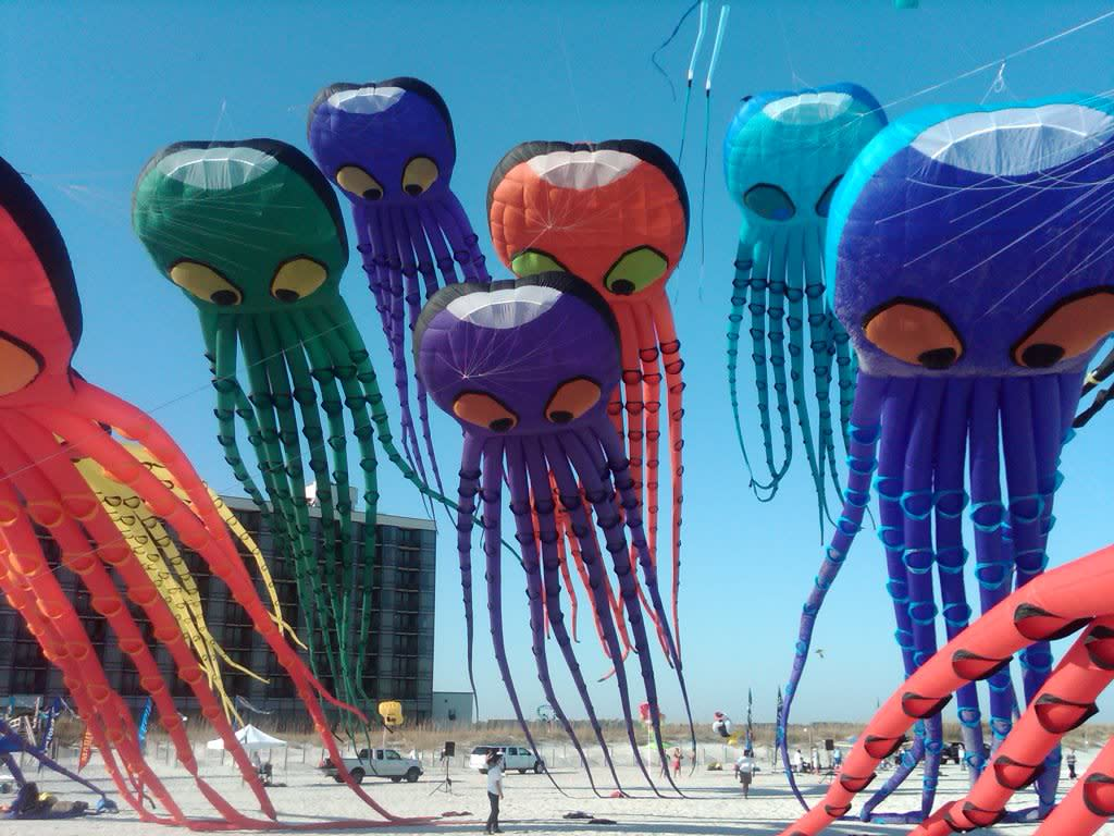Jellyfish kites flying at the Cape Fear Kite Festival