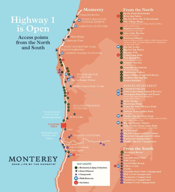 Big Sur Road Closure Route 101 Map Reroute
