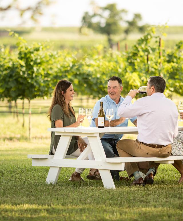 People sitting at a picnic bench drinking wine in Signor Vineyards