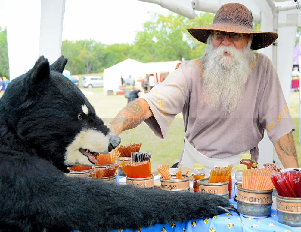 Man Selling Flavored Honey at the Great Plains Renaissance Faire
