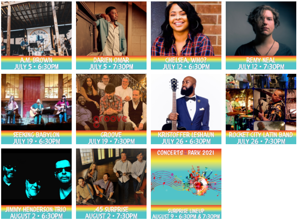 Concerts in the Park Lineup 2 - 2021