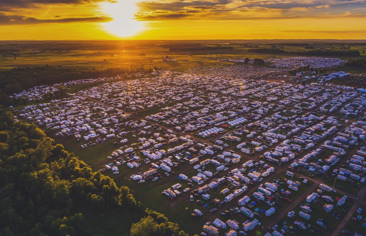 View from the sky of the RVs at Country Fest