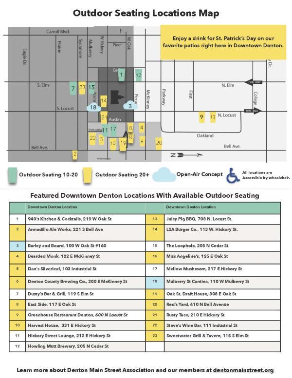 Denton Main Street Association Patio Map for St. Patrick's Day