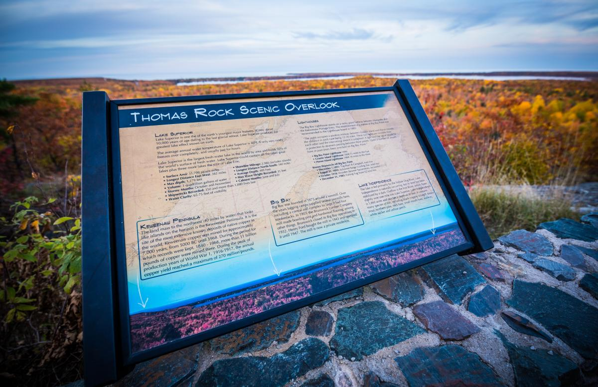 Informational sign at Thomas Rock Scenic Overlook in Big Bay, MI