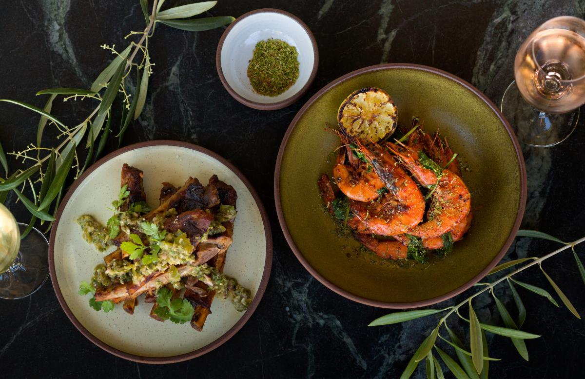 Aerial view of plated seafood dishes in a SLO Cal Restaurant