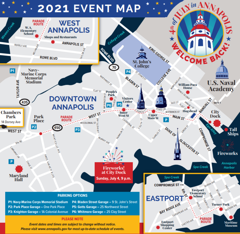 Event Map of 2021 July 4th Weekend in Annapolis, Maryland.