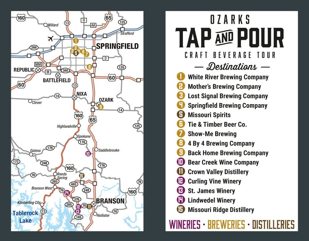 Ozarks Tap and Pour Map 2018