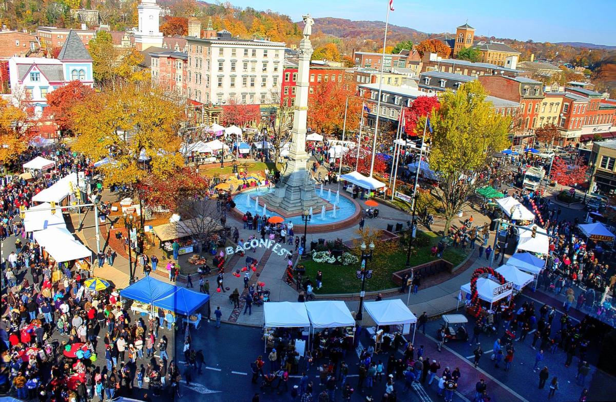 Aerial view of the PA Bacon Fest in Easton, PA
