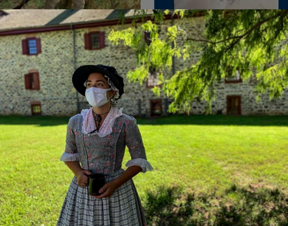 A reenactor wearing a mask at Old Barracks Museum in Princeton, NJ