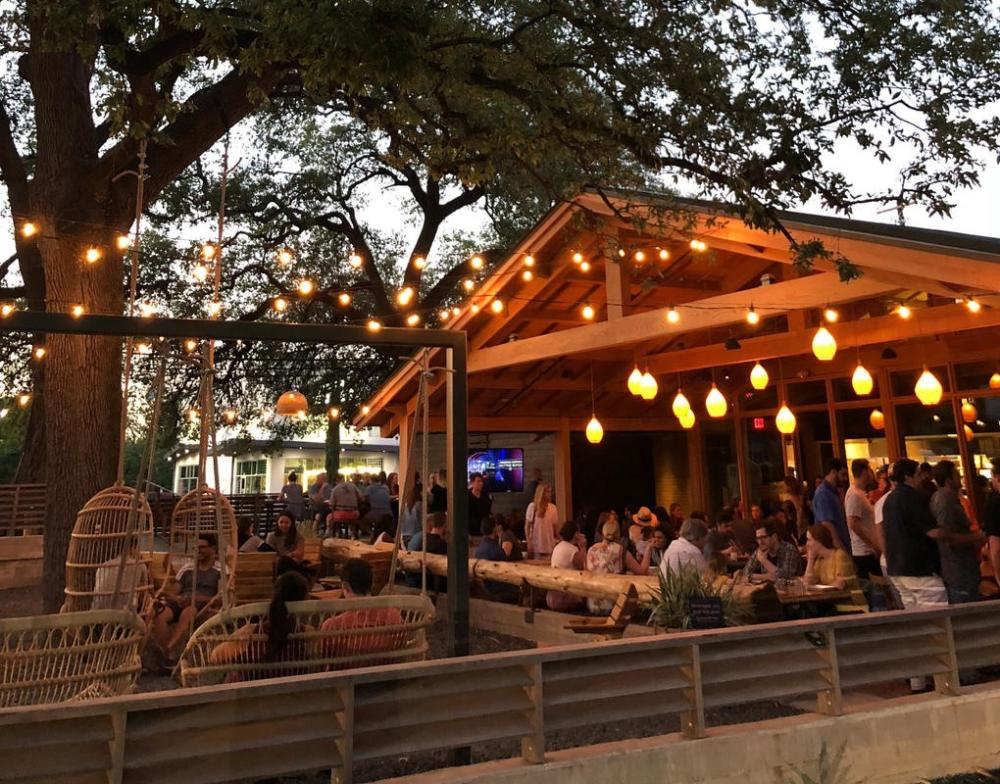 patio with twinkle lights at Loro in austin texas