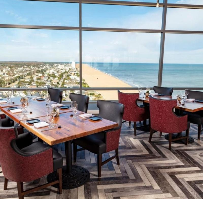 The dining room at Orion's Roof in Virginia Beach offers stunning views of the Atlantic Ocean.