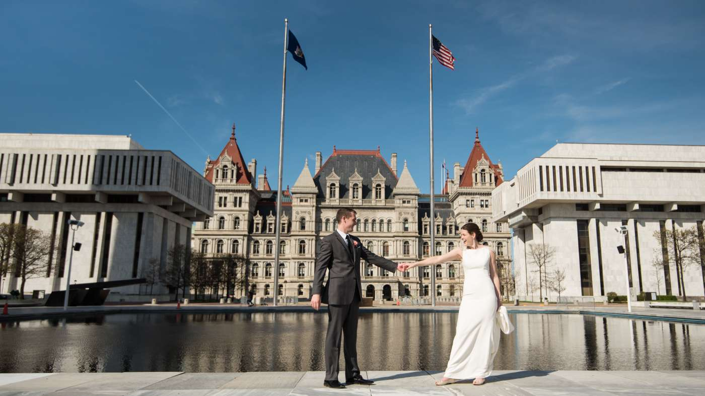 Bride and groom at NYS Capitol