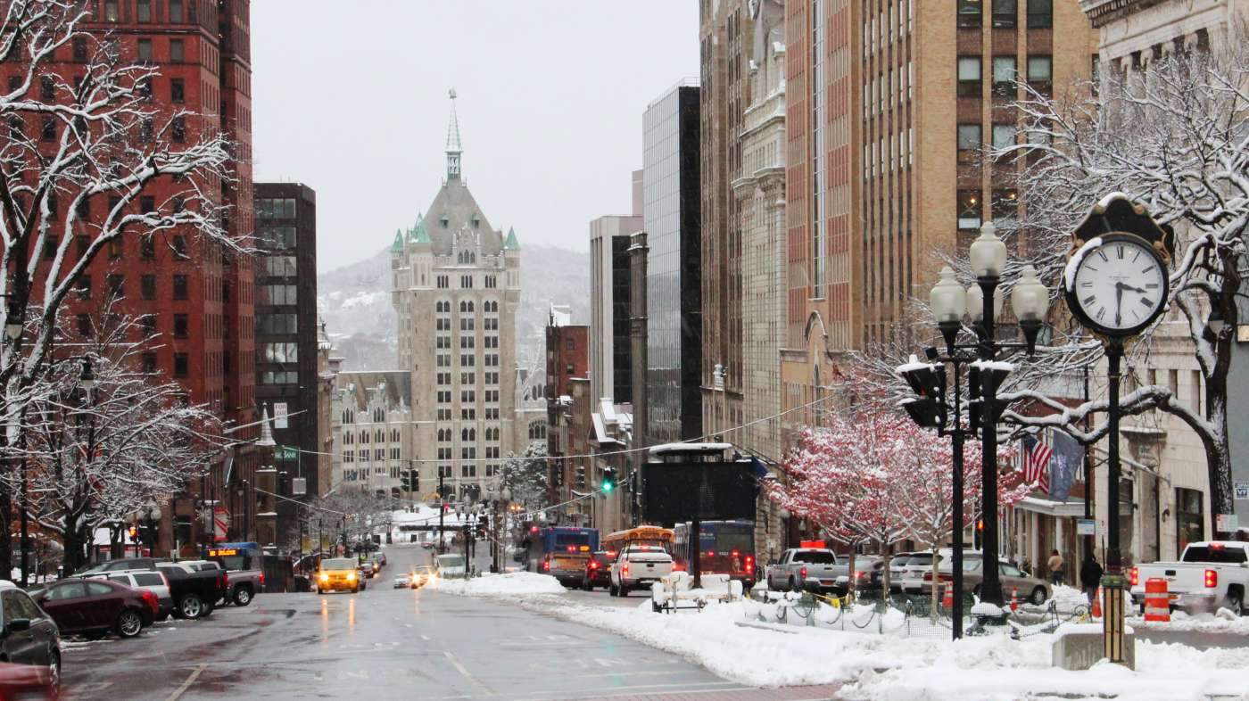 Downtown Albany in snow