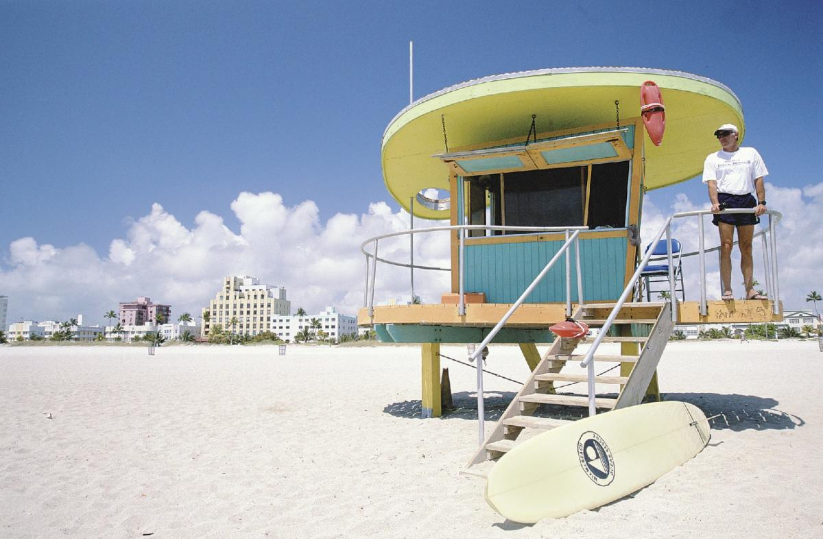 One of the colorful lifeguard stations on South Beach.