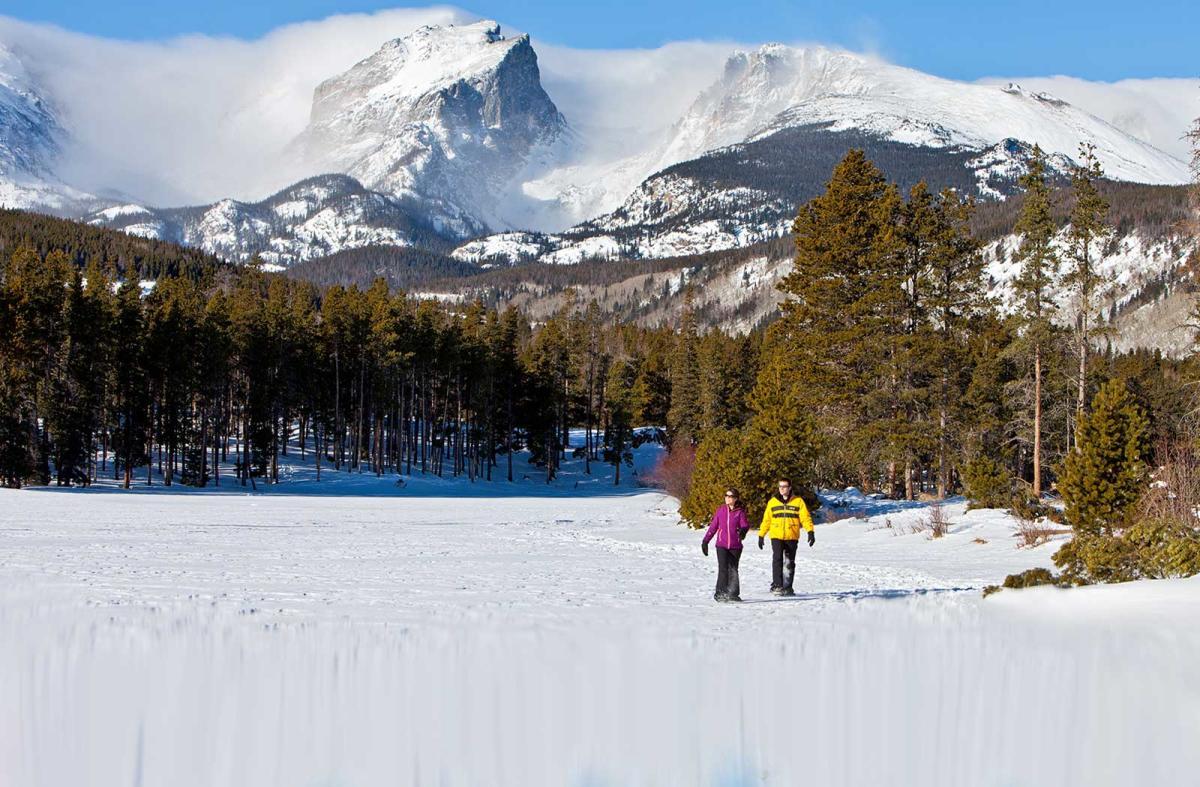 Winter Snowshoe Couple In Estes Park, CO