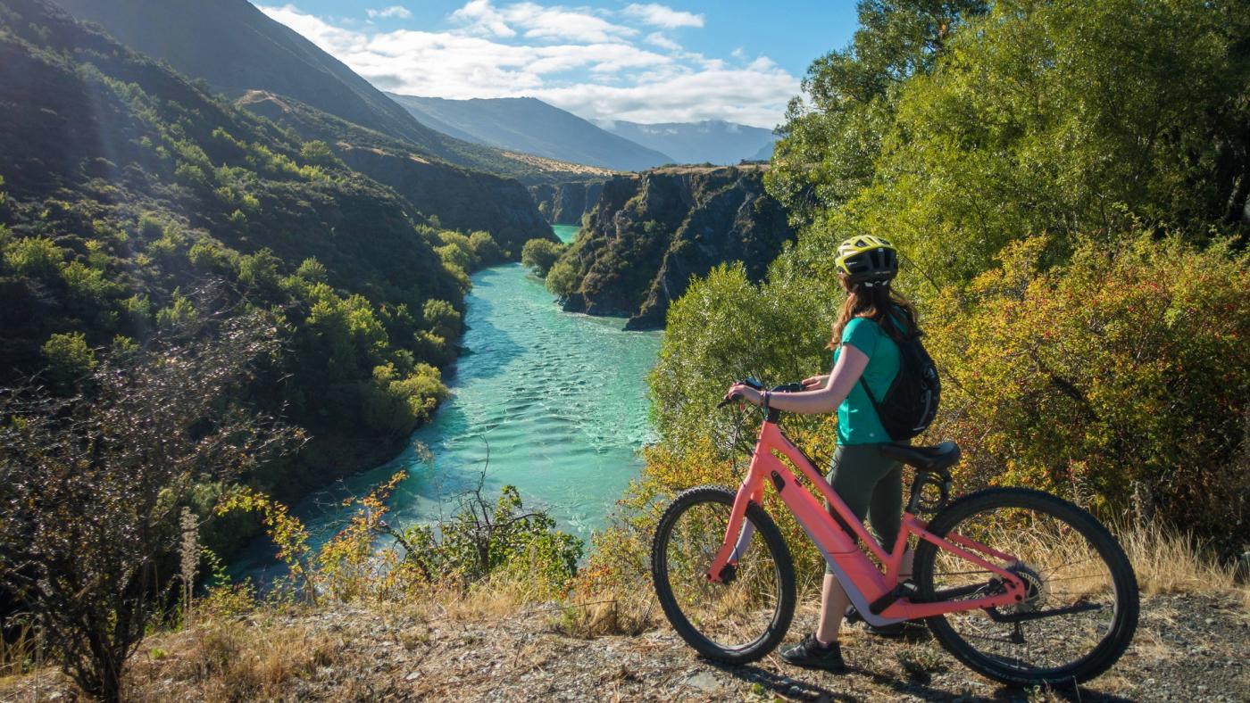 Bike hire with Gibbston Valley Bike Centre, overlooking the Kawarau river