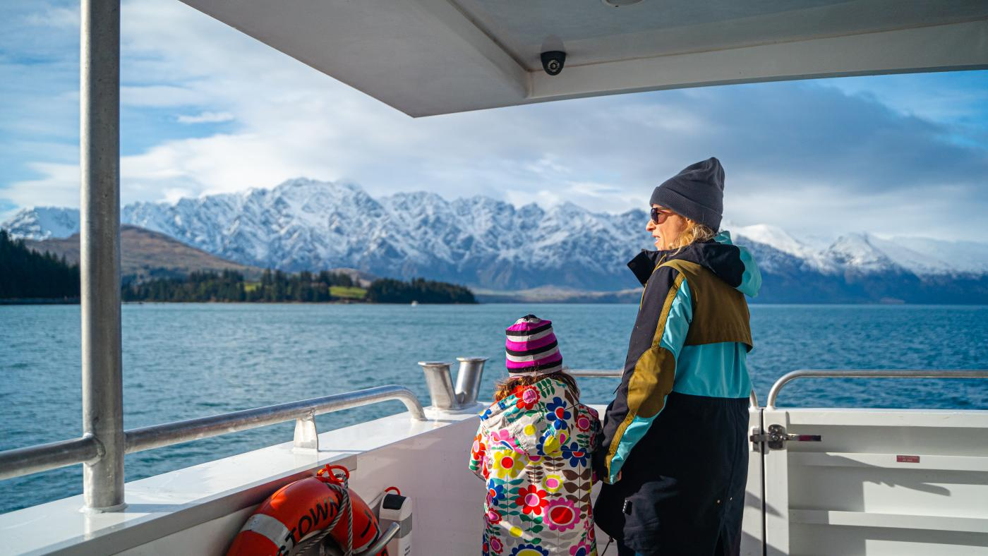 Young girl and mum on a scenic winter adventure with Southern Discoveries