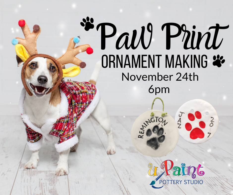 Ad for uPaint paw print ornament class