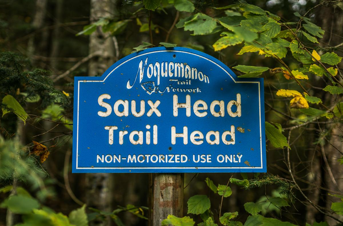 Signage from Saux Head Trail Head's non-motorized trail in Big Bay, MI