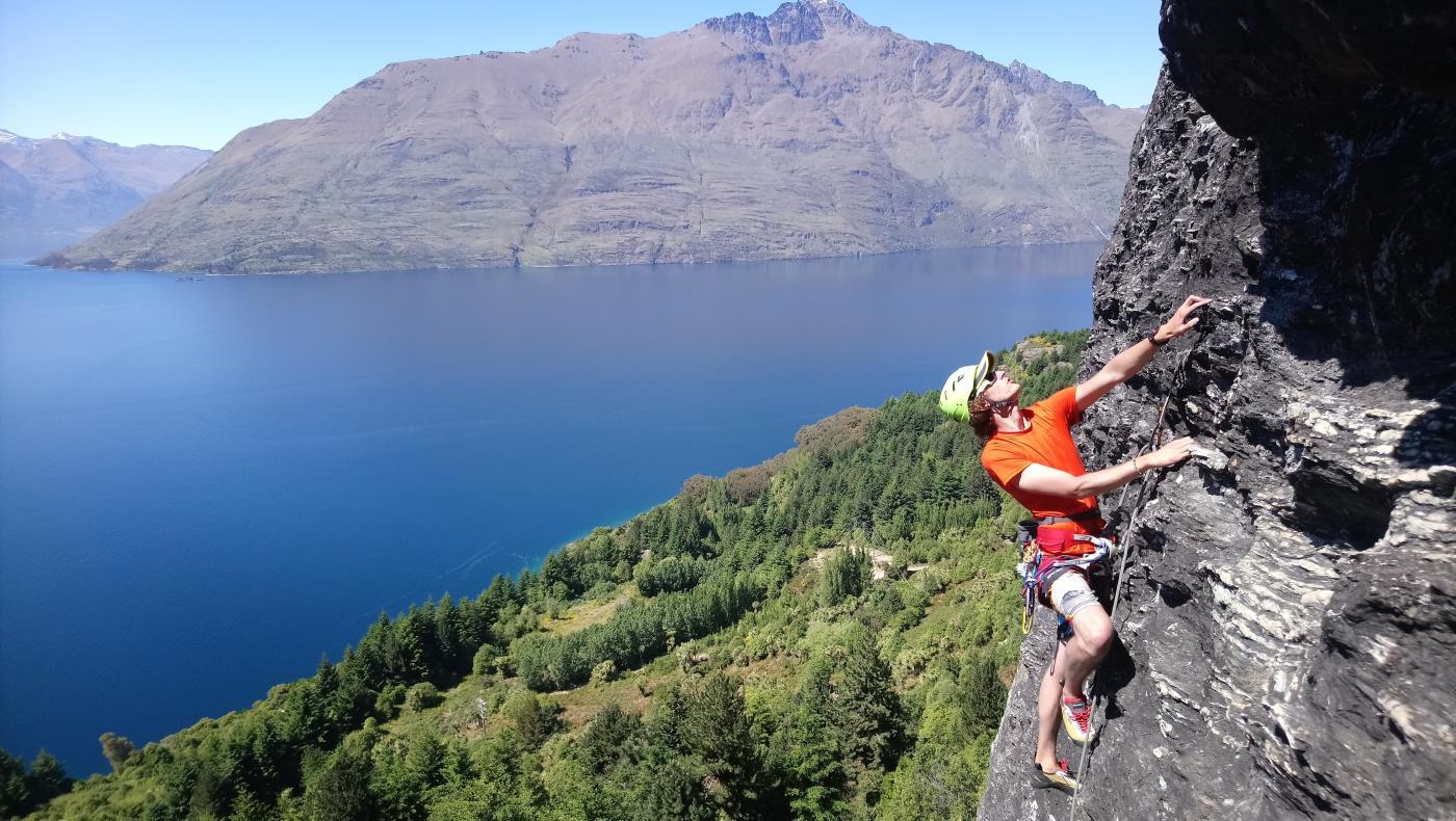 Lead climbing at Arawata terrace