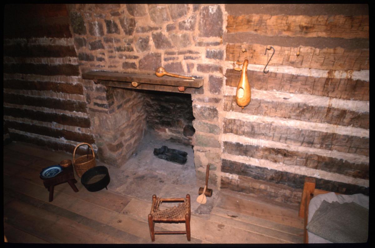 Slave quarters interior at Sully Historic Site
