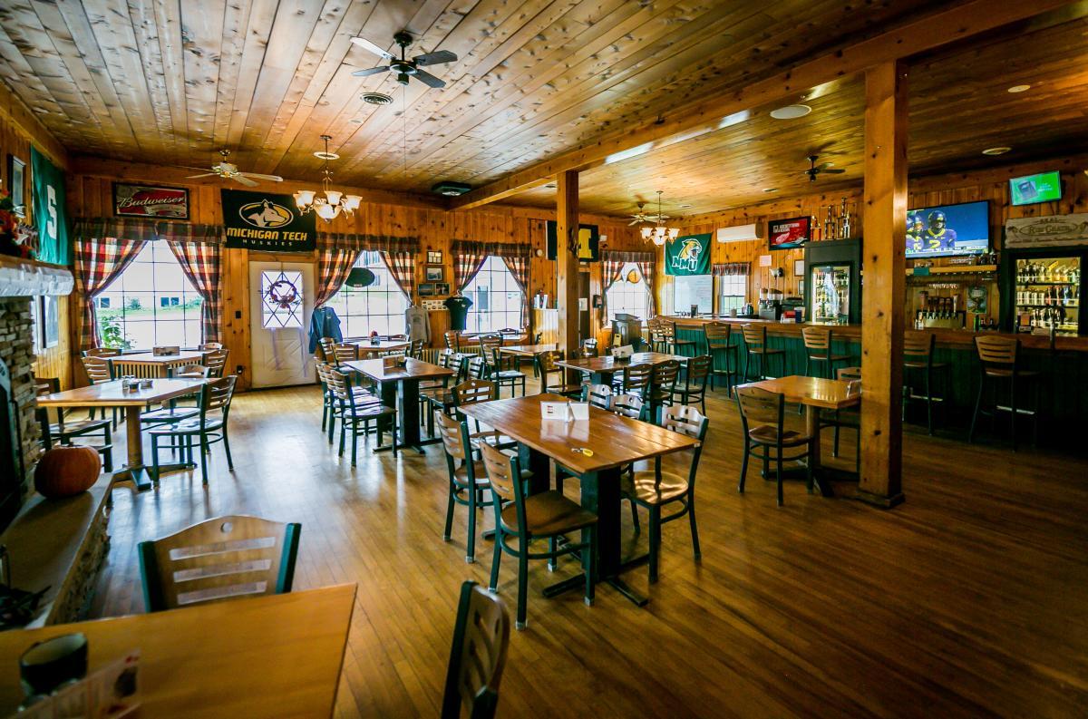 The interior of the Thunder Bay Inn Restaurant in Big Bay, MI