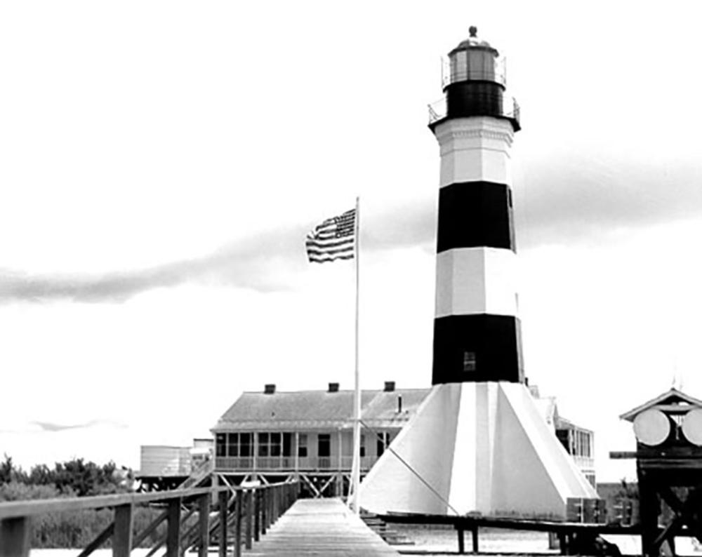 Black and white photo of Sabine Pass Lighthouse