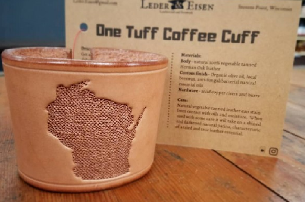 One Tuff Coffee Cuff Wisconsin - Leder Eisen at AGORA