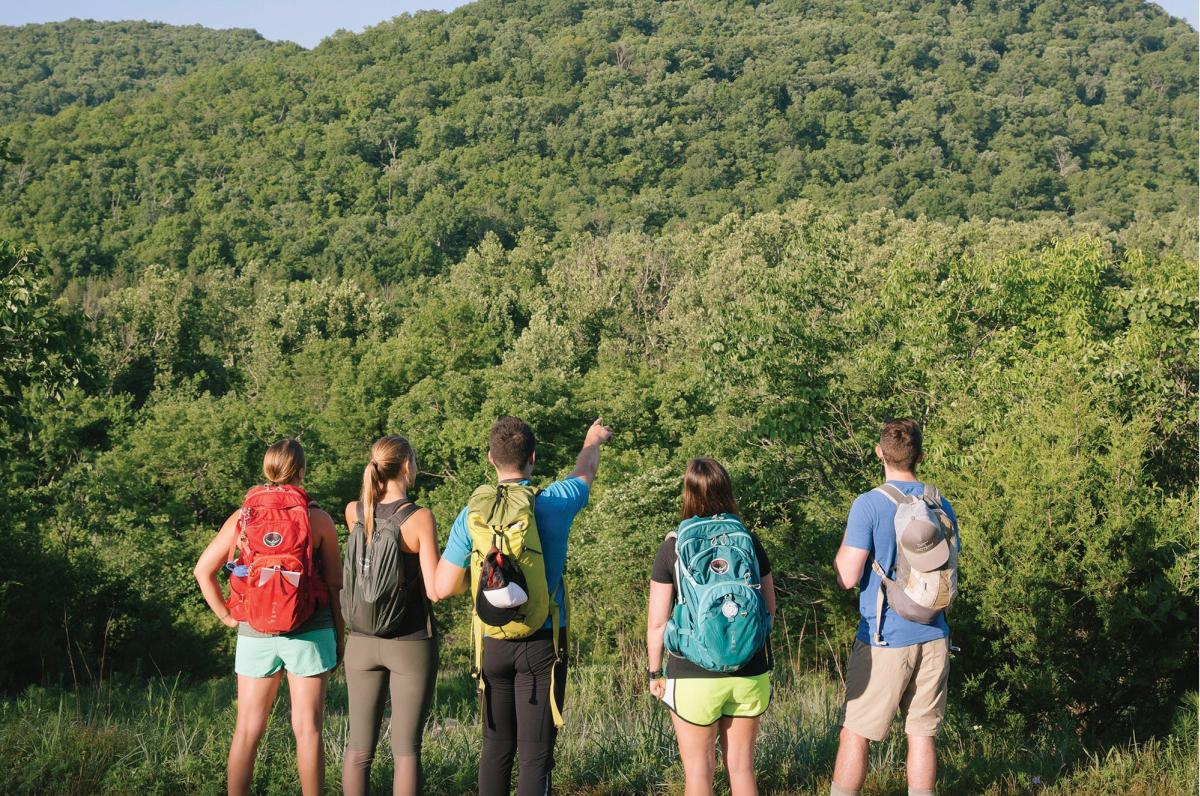 Hikers at Busiek State Forest and Wildlife Area near Springfield, Missouri
