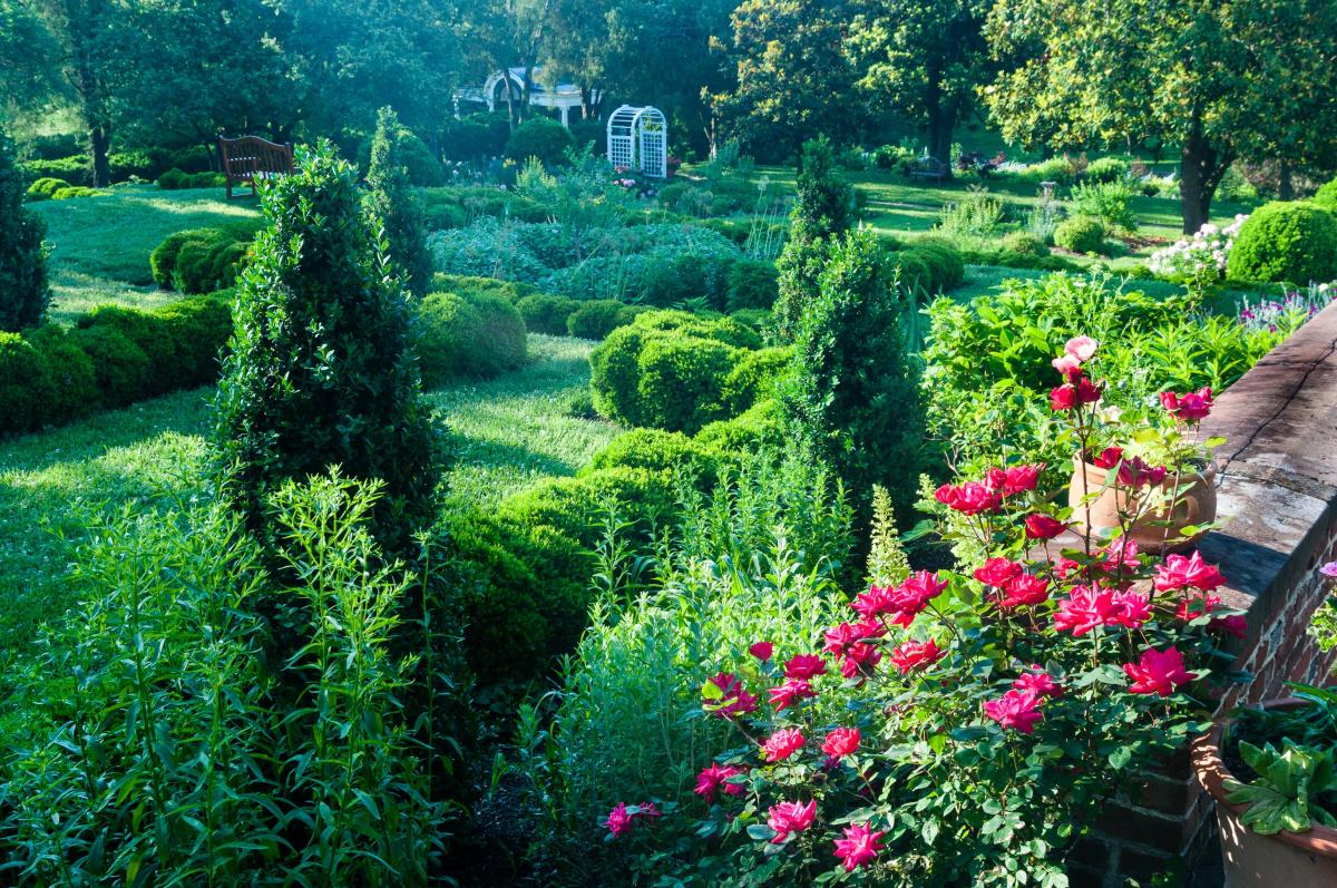 springtime view of flowering plants and trees at Oatlands Historic House and Gardens