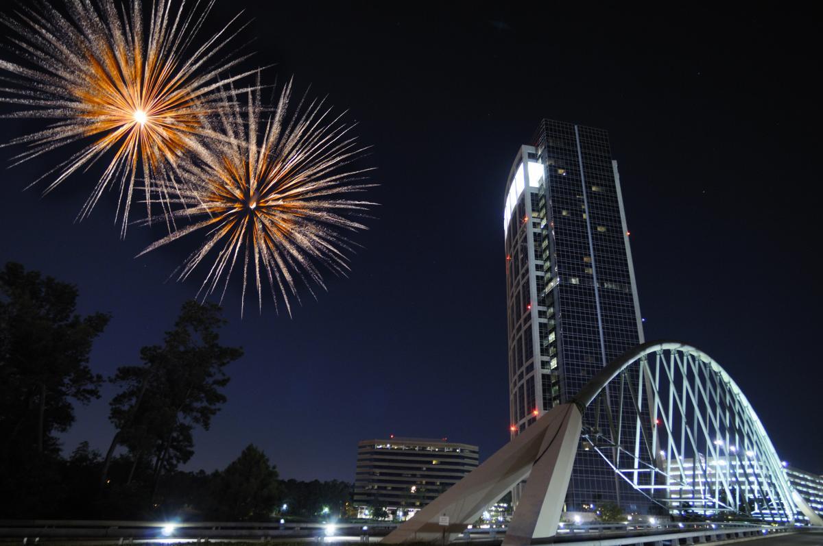 Fireworks over Lake Robbins Bridge