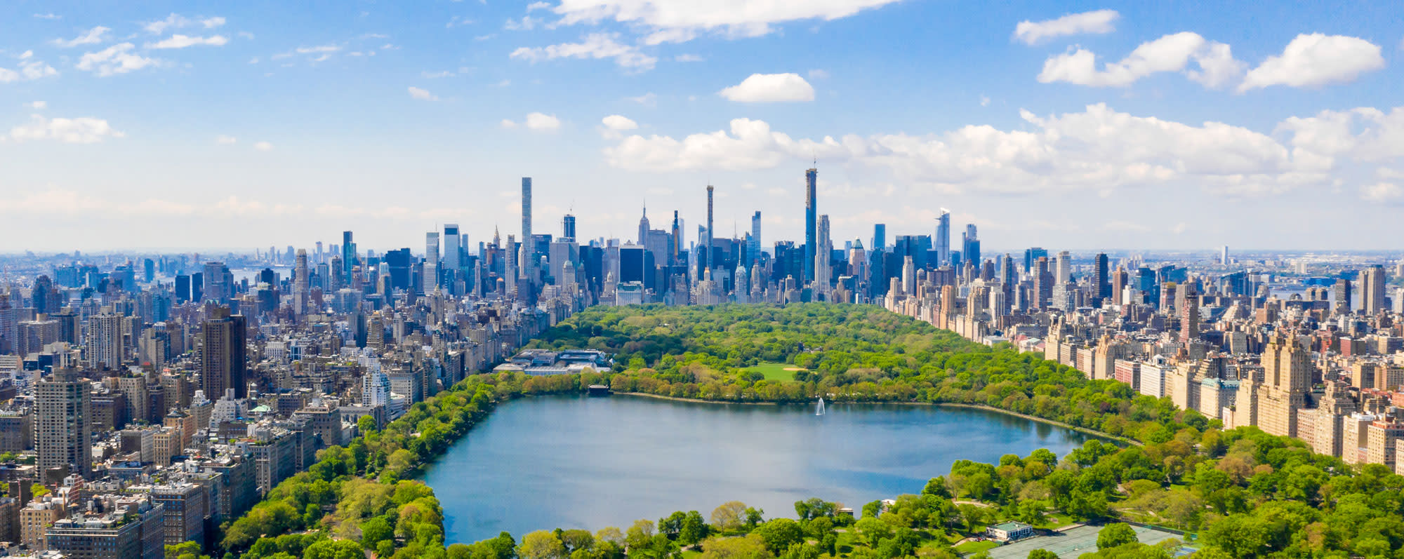 View of Manhattan's skyline with the Central Park reservoir