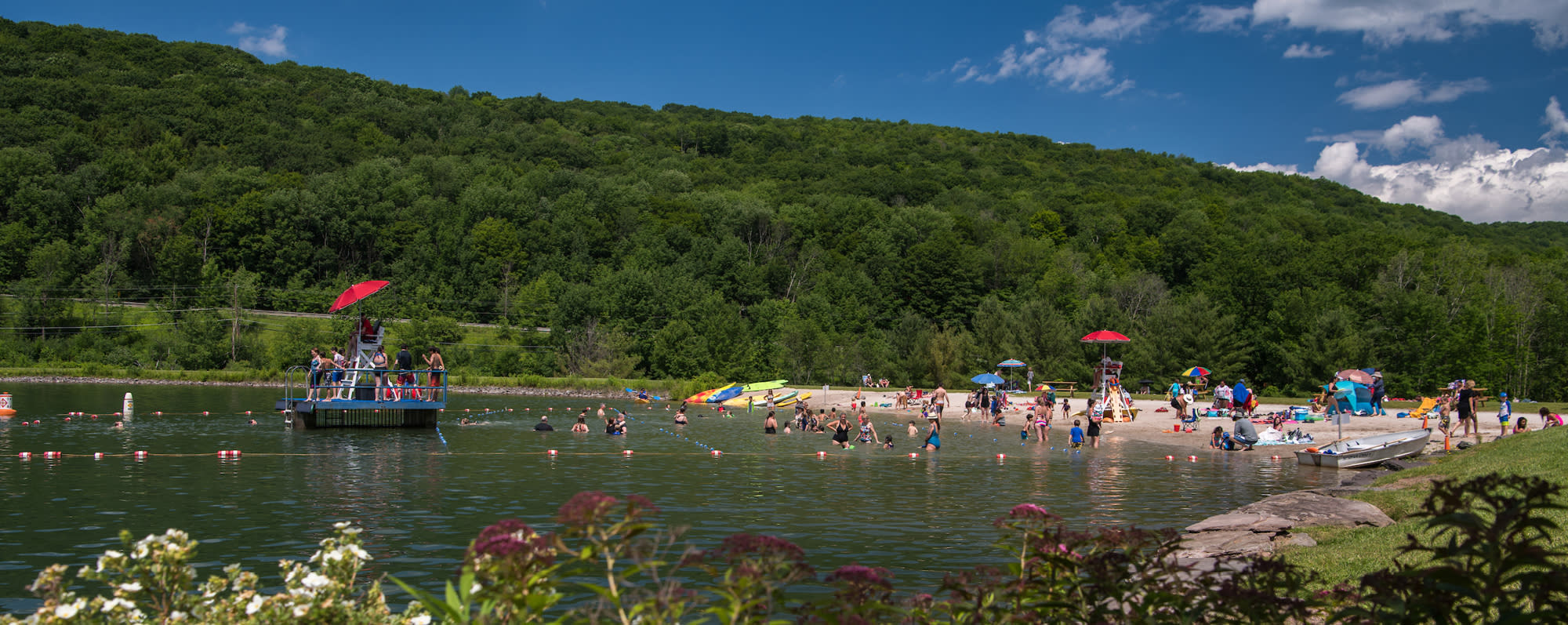 People jumping into the water at Belleayre Beach at Pine Hill Lake
