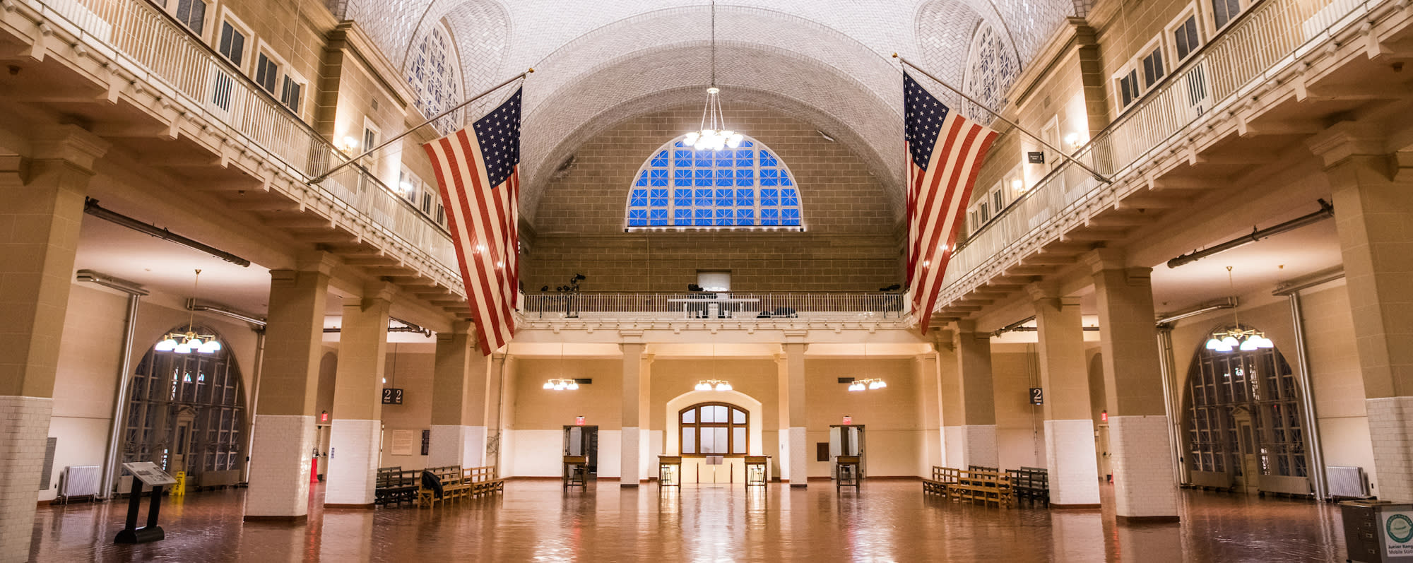 A photo of the interior of Ellis Island