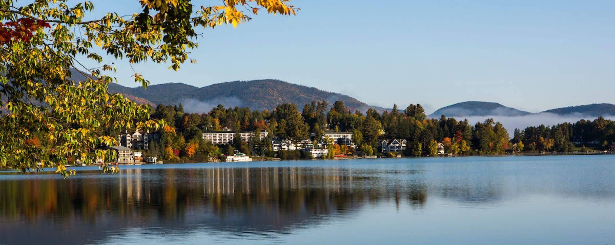 Autumn leaves beginning to show on the shores of Lake Placid, NY.