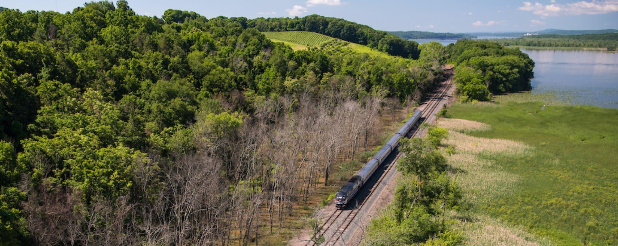 Amtrak Train in Hudson Valley