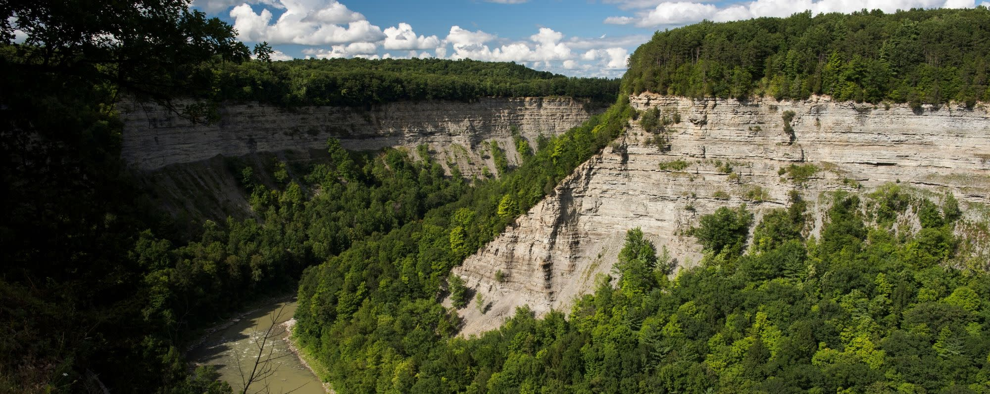 An aerial photo of Letchworth State Park- Great Bend