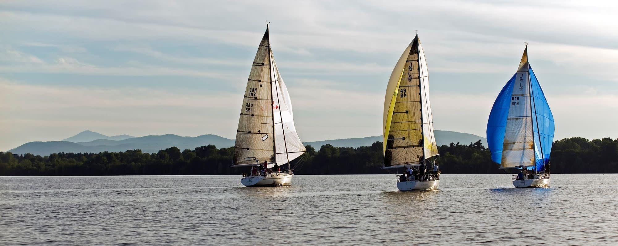 Three sailboats on Lake Champlain, photo by Darren McGee