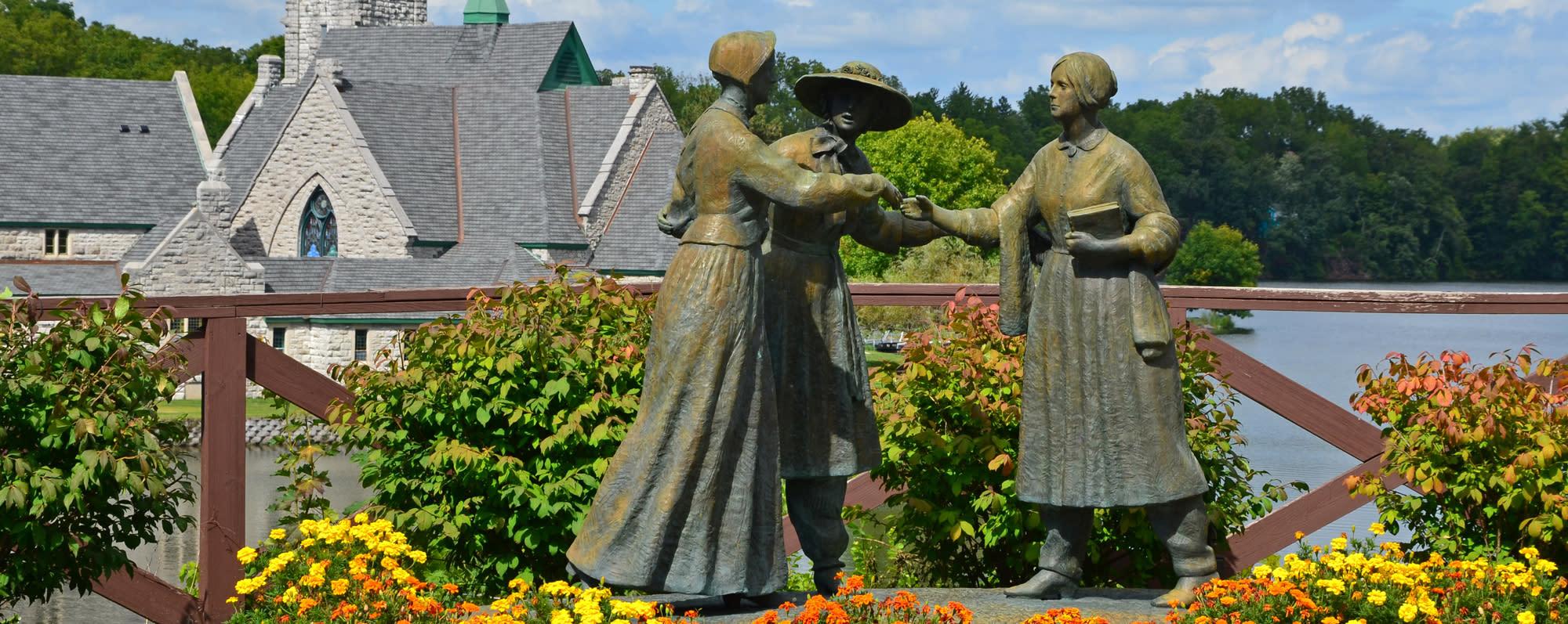 A statue of Susan B. Anthony meeting Elizabeth Cady Stanton in Seneca Falls