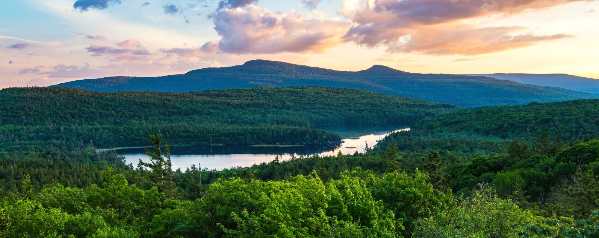 View from Sunset Rock at North-South Lake Campground, Haines Falls, NY, Greene County, Catskill Region