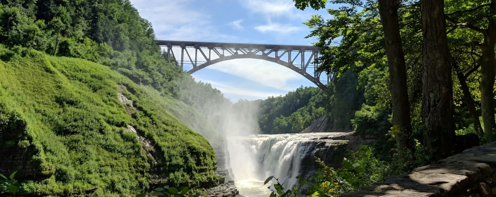A view of the bridge over the falls at Letchworth State Park